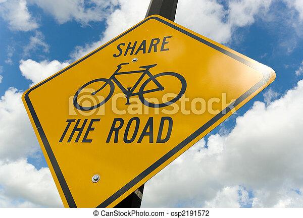 bicicleta, sinal cuidado - csp2191572