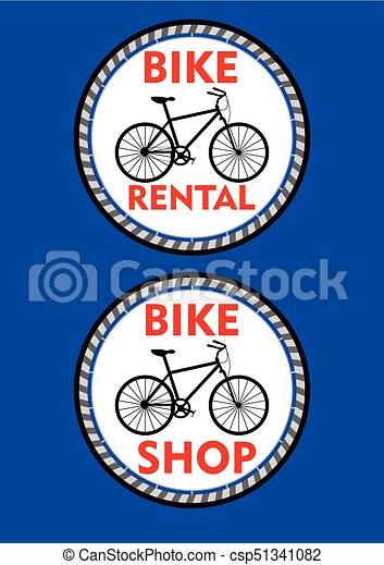 Bicicletta Colorato Titolo Noleggio Signboard Due Etichetta Bicicletta Disegno Cerchio Nero Silhouette O Rosso Negozio