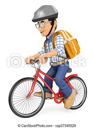 Bicicletta scuola giovane andare studente 3d scuola for Disegno 3d free