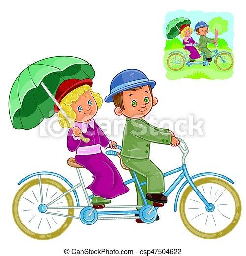 Bicicletta Tandem Periodo Vettore Costume Piccolo Sentiero Per Cavalcate Bambini