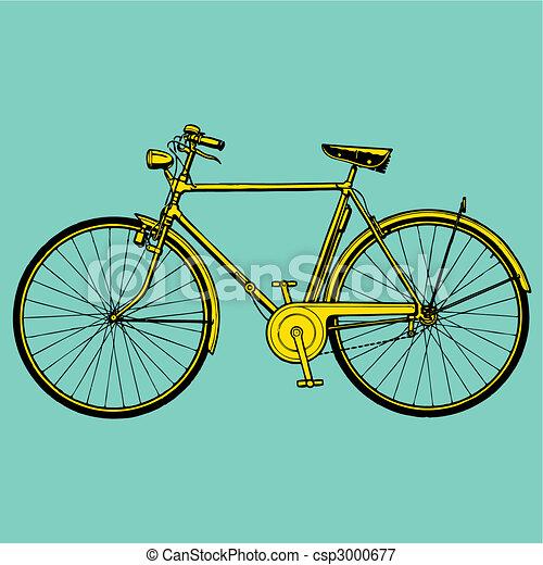 bicikli, vektor, öreg, ábra, klasszikus - csp3000677