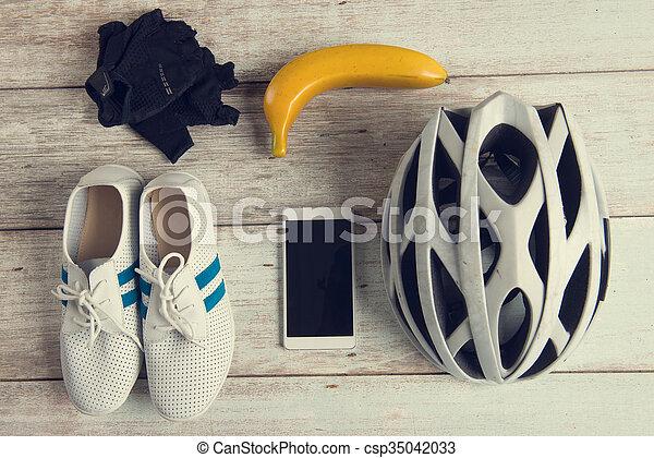 biciklista, fogalom, hangsúly, szüret, retro, fénykép, konzervál - csp35042033
