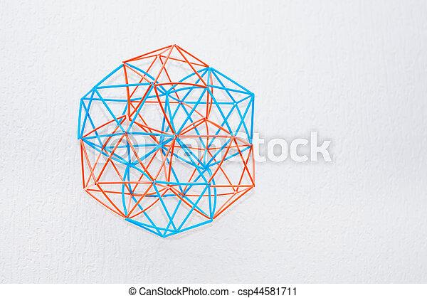 Bicolor Handmade Dimensional Model Of Geometric Solid - csp44581711