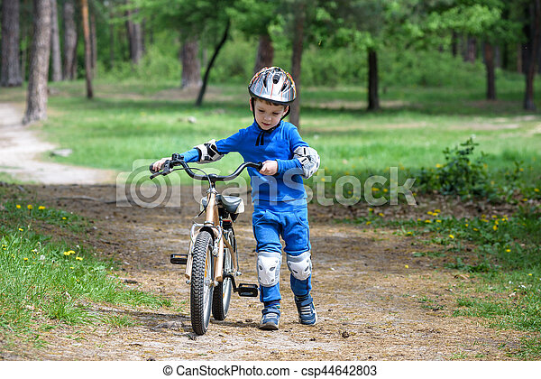 Bicycle Accident Kids Safety Concept Boy Transporting His Bike To