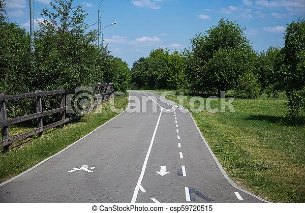Bicycle and pedestrian asphalt road - csp59720515