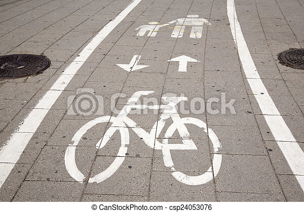 Bicycle and Pedestrian Lane Sign - csp24053076