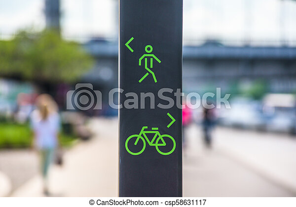Bicycle and pedestrian lane sign - csp58631117