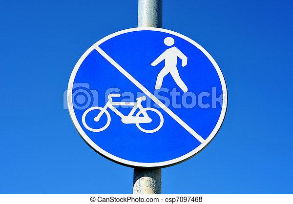bicycle and pedestrian lane sign - csp7097468