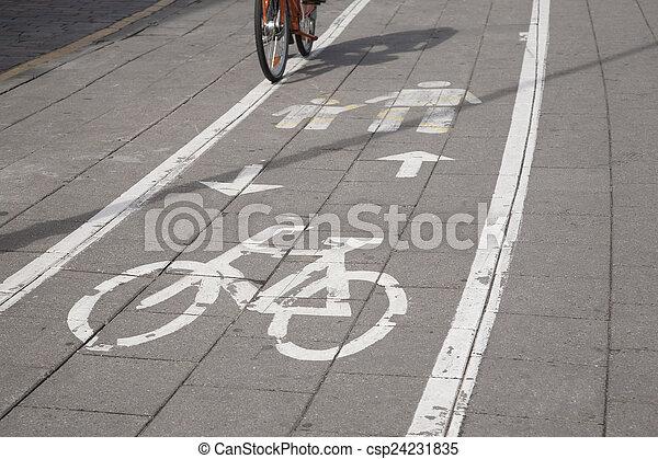 Bicycle and Pedestrian Lane Sign - csp24231835