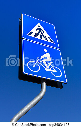 Bicycle and pedestrian road sign - csp34034125