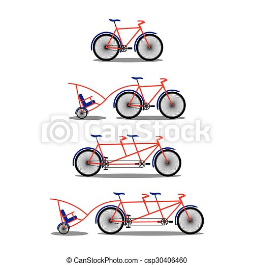 Bicycle And Tandem Various Kinds Illustration Clip Art