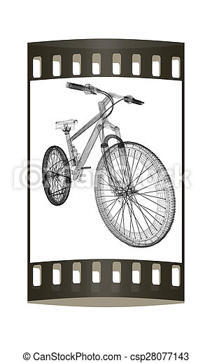 Bicycle as a 3d wire frame object isolated. the film strip stock ...