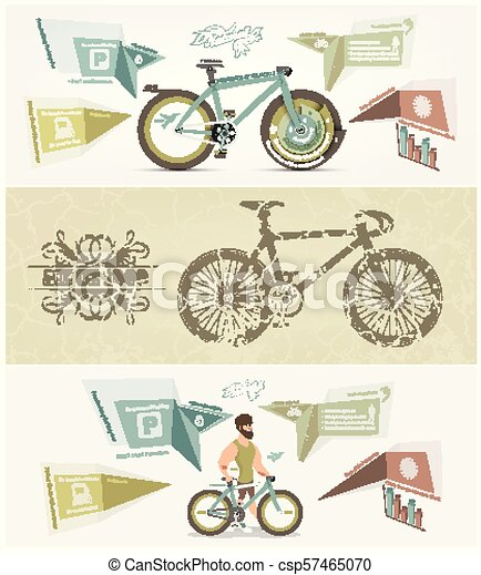 bicycle banner for facebook Poster vector Design - csp57465070