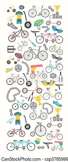 Bicycle banner graphic design. Bike types. Vector illustration flat design - csp37859995