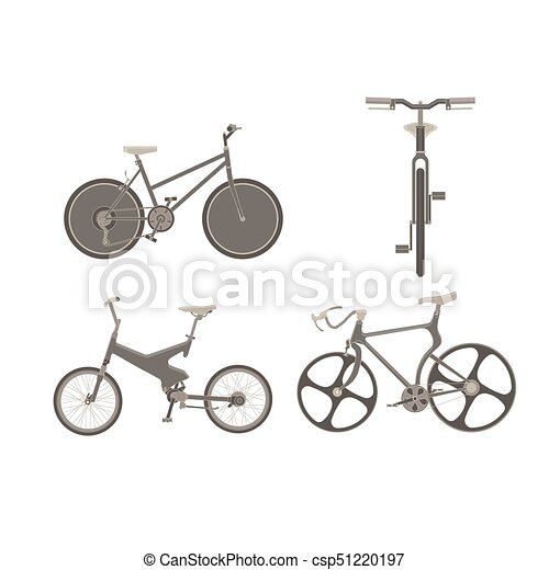 Bicycle bike vector set illustration cycle family transport vintage sport old ride design wheel retro - csp51220197
