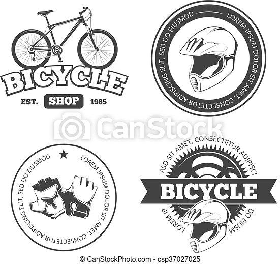 Bicycle, bike vintage vector labels, emblems, logos, badges - csp37027025