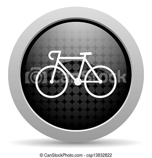 bicycle black circle web glossy icon - csp13832822