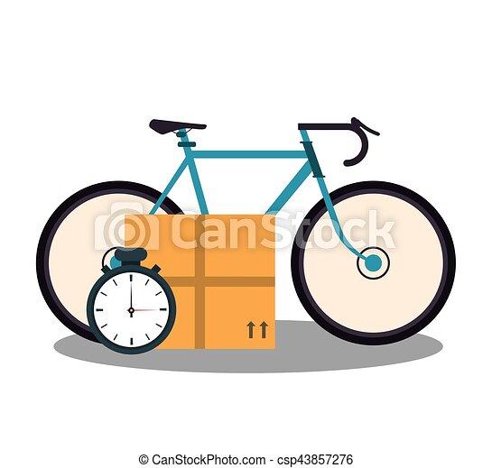 bicycle, carton box, and chronometer - csp43857276