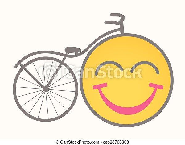 Bicycle - Cartoon Smiley Vector - csp28766308