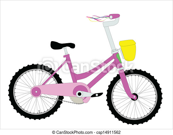 bicycle a little girls bicycle with ribbons on the clip art rh canstockphoto com clip art bicycle free clip art bicycle free