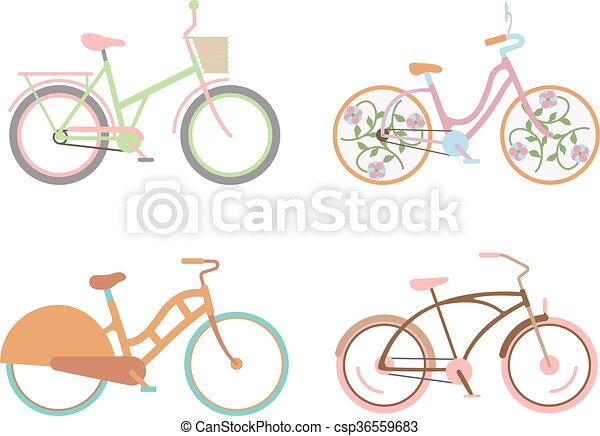 Bicycle for girls with a basket retro design vector.  - csp36559683