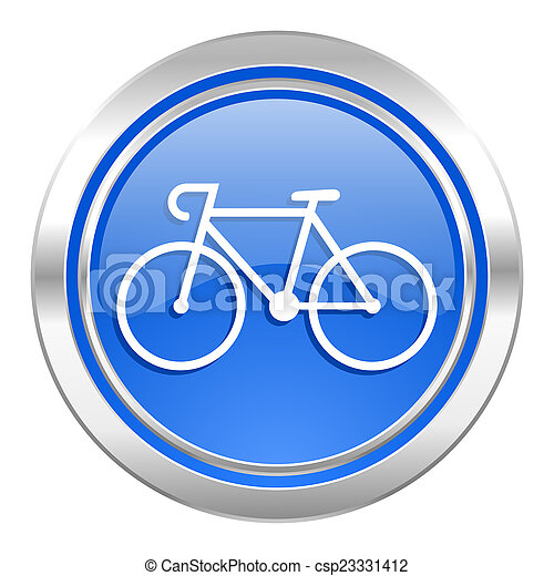 bicycle icon, blue button, bike sign - csp23331412