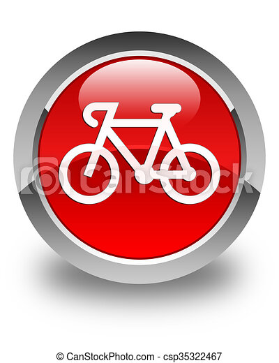 Bicycle icon glossy red round button - csp35322467
