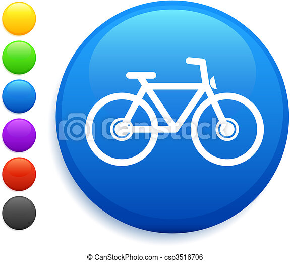 bicycle icon on round internet button - csp3516706