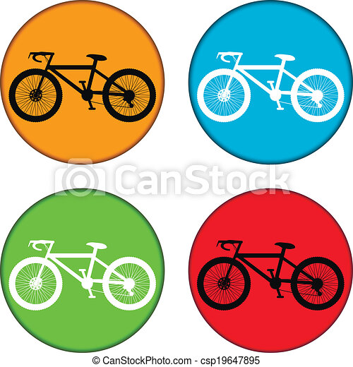 Bicycle icon on round internet button - csp19647895
