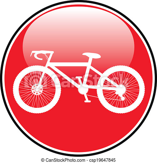 Bicycle icon on round internet button - csp19647845