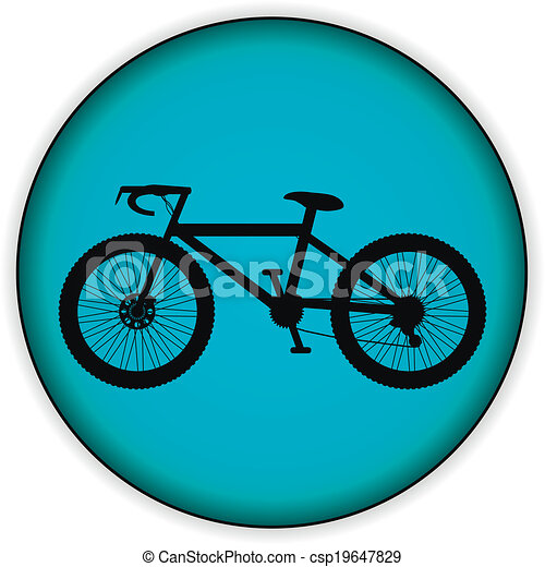 Bicycle icon on round internet button - csp19647829