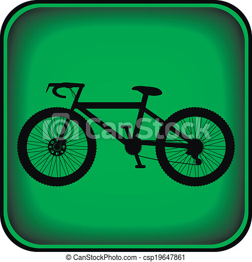 Bicycle icon on square internet button - csp19647861