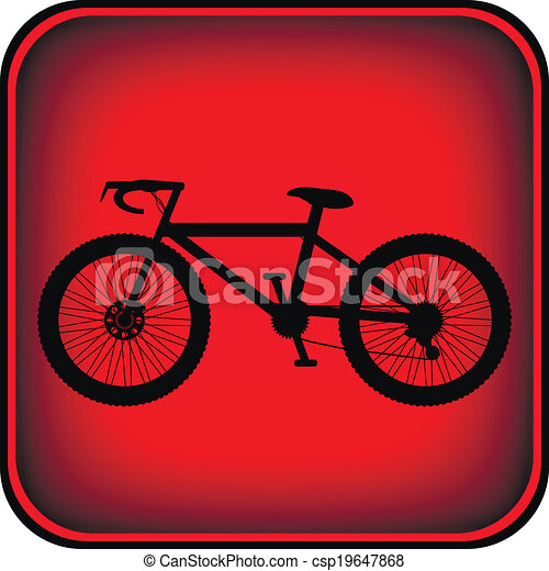 Bicycle icon on square internet button - csp19647868