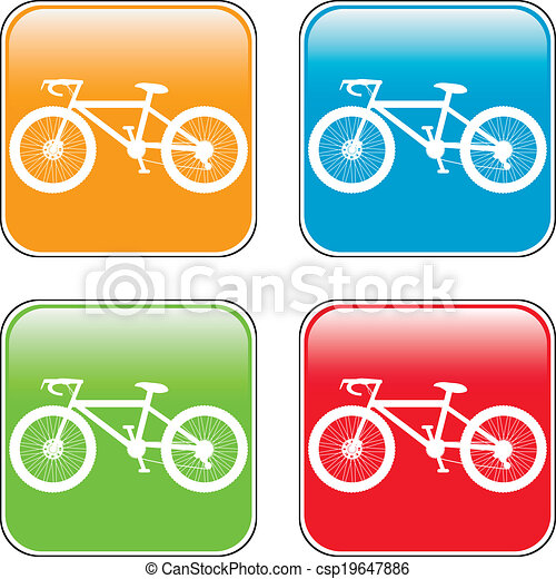 Bicycle icon on square internet button - csp19647886