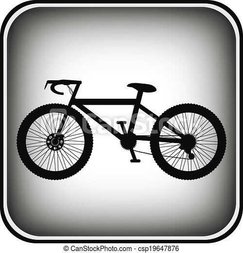 Bicycle icon on square internet button - csp19647876