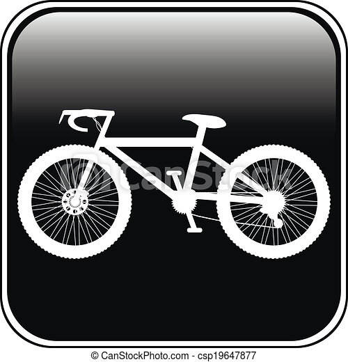 Bicycle icon on square internet button - csp19647877