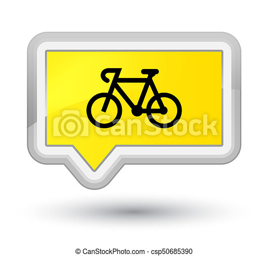 Bicycle icon prime yellow banner button - csp50685390
