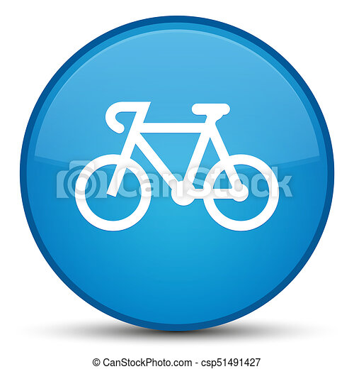 Bicycle icon special cyan blue round button - csp51491427