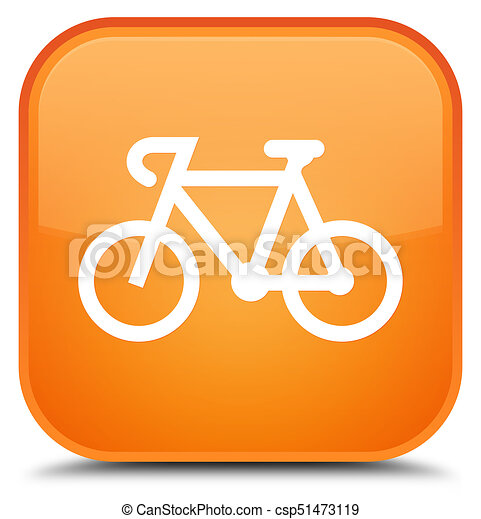 Bicycle icon special orange square button - csp51473119