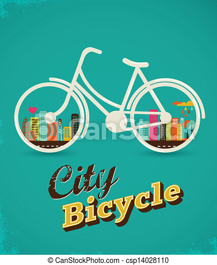 Bicycle in the city, vintage style poster - csp14028110