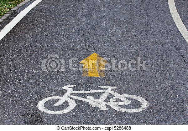 Bicycle lane in public park - csp15286488