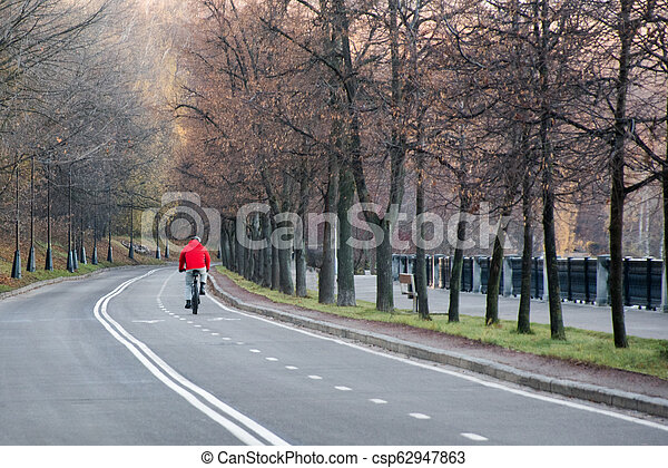 Bicycle lane road marks on asphalt road in the city park - csp62947863