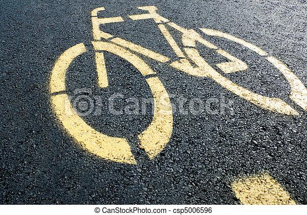 Bicycle lane sign on road - csp5006596