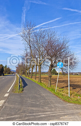 bicycle lane with trees and street - csp8376747