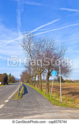 bicycle lane with trees and street - csp8376744
