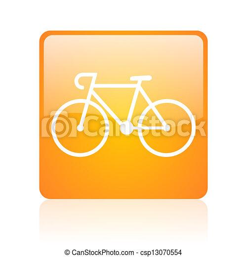 bicycle orange square glossy web icon - csp13070554