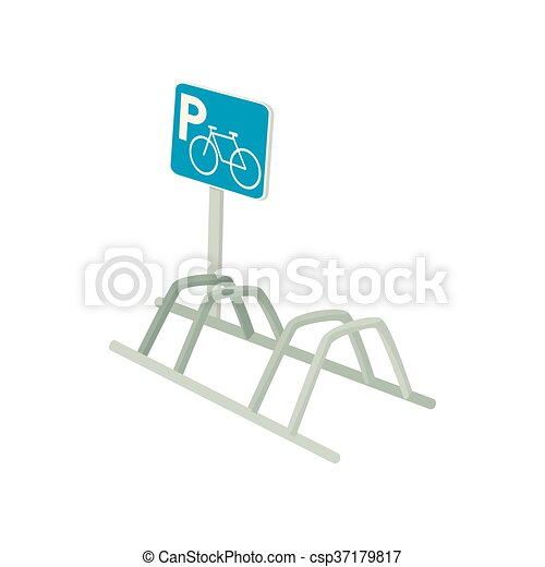 Bicycle parking icon, cartoon style - csp37179817