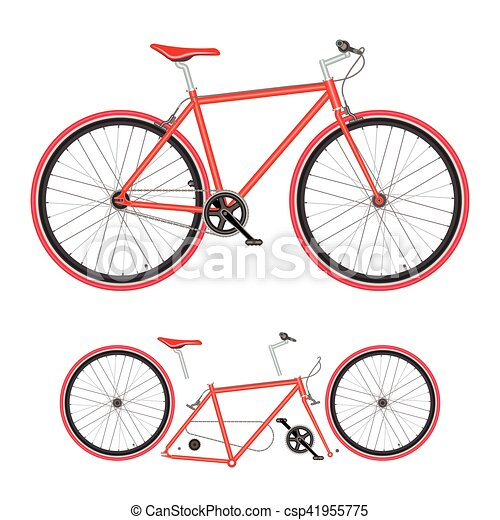 Bicycle Parts Poster Quality Vector Illustration Bike On White