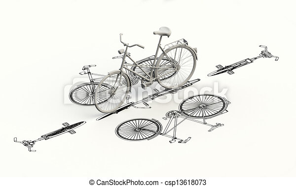 Bicycle plan with 3d model on top - csp13618073