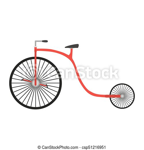 Bicycle retro vintage vector bike illustration isolated design old white sport background transport red - csp51216951